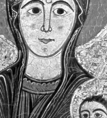 «Мадонна с младенцем». Деталь фронтали из Бетеса (темпера, 13 в., Музей изящных искусств Каталонии, Барселона). Живопись.