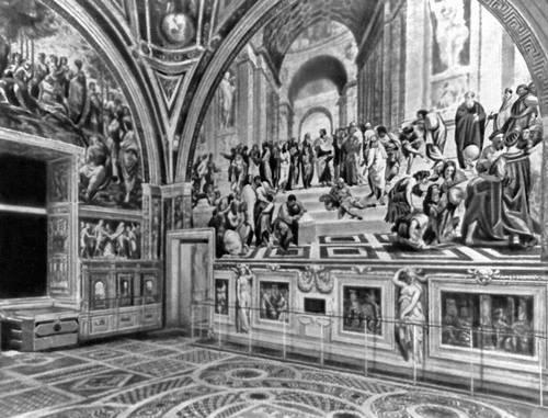 Рафаэль. Фрески «Парнас» и «Афинская школа» в Станца делла Сеньятура в Ватикане. 1509—11. Живопись.