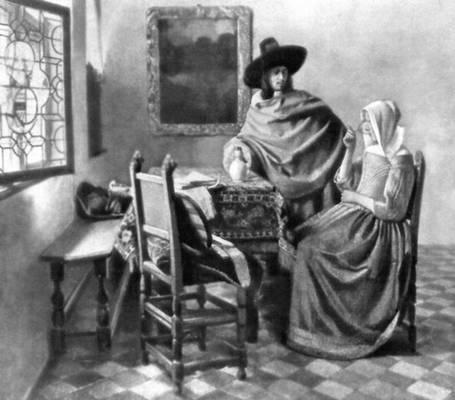 Вермер. «Бокал вина». Около 1660. Картинная галерея. Берлин-Далем. Живопись.