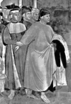 Джотто(?). «Св. Франциск, отказывающийся от своего наследства». Фреска в Верхней церкви Сан-Франческо в Ассизи. Около 1300—04. Живопись.