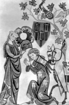 Миниатюра из «Рукописи Манессе». Около 1320. Библиотека университета. Гейдельберг. Живопись.