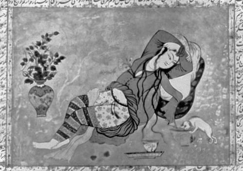 Мир Авдал Туни. «Лежащая женщина». Иранская миниатюра. Около 1630. Британский музей. Лондон. Живопись.