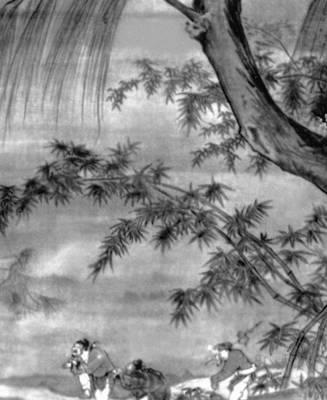 Неизвестный художник. «Пейзаж с танцующими фигурами» (фрагмент). Шёлк, тушь. 10—13 вв. Пекинский дворец-музей. Живопись.