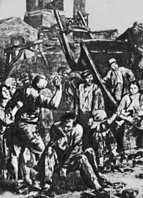 Забастовка рабочих в Германии в 1841. Рисунок. Забастовка.
