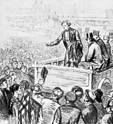 Забастовка ткачей в Престоне. Великобритания. 1853. Рисунок. Забастовка.