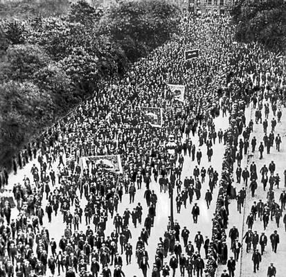 Демонстрация бастующих транспортников. Лондон. Великобритания. 1911. Забастовка.