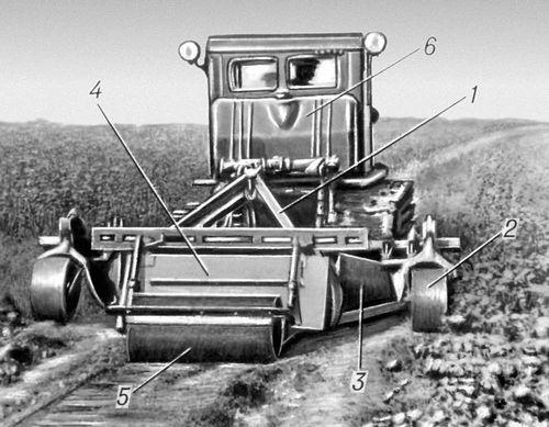 Заравниватель оросителей: 1 — универсальная рама; 2 — опорные колёса рамы; 3 — отвалы; 4 — задняя стенка; 5 — каток; 6 — трактор. Заравниватель оросителей.