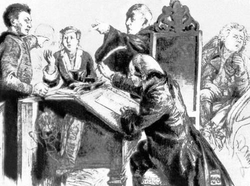 А. Менцель. Илл. к комедии Г. Клейста «Разбитый кувшин». Гравюра на дереве. Париж. 1848. Иллюстрация.