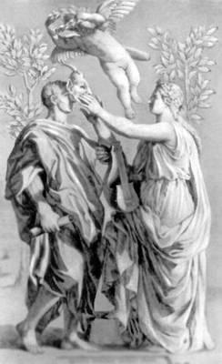Илл. к произведениям Горация. Резцовая гравюра по рис. Н. Пуссена. Париж. 1642. Иллюстрация.