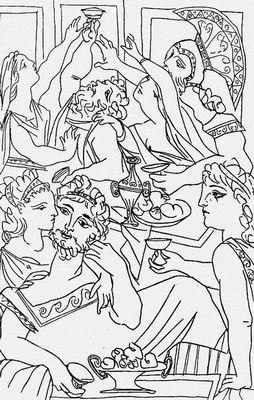 П. Пикассо. Иллюстрация к «Лисистрате» Аристофана. Тушь, перо. 1934. Иллюстрация.