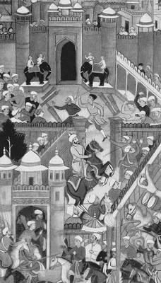 Вступление Бабура во дворец султана Ибрахима в Агре после взятия города. Могольская миниатюра 16 в. Индия.