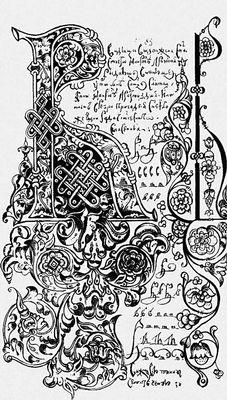 Инициал. Буква «В» из азбуки 1698 года. Исторический музей. Москва. Инициал.