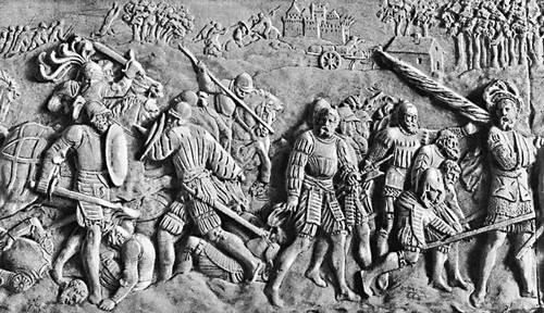 Битва при Павии (1525). Барельеф гробницы Франциска I работы Пьера Бонтана. Около 1555. Аббатство Сен-Дени, близ Парижа. Итальянские войны 1494-1559.