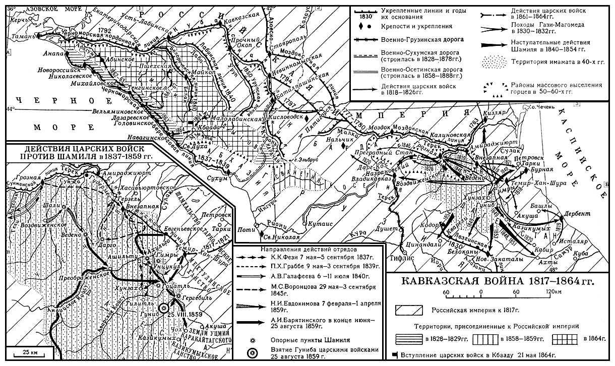 Кавказская война 1817—1864 гг. Кавказская война 1817-64.