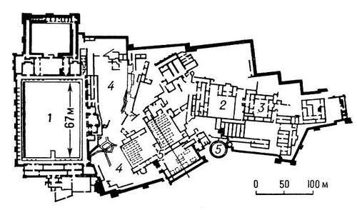 Кала-Бени-Хаммад. Дворцовый комплекс 11 в. План: 1 — Дар-эль-Бахр; 2 — дворец эмира; 3 — гарем; 4 — сады; 5 — цистерны. Кала-Бени-Хаммад.