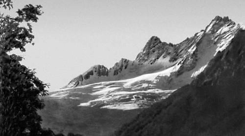 Карачаево-Черкесская автономная область. Горы Большого Кавказа. Вид с Домбайской поляны. Карачаево-Черкесская автономная область.