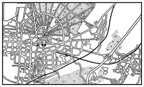 Карлсруэ. План застройки. Основное строительство с 1715. Классицизм.
