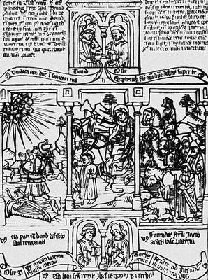 Блочная ксилографическая книга «Библия бедных». Середина 15 в. Книга.