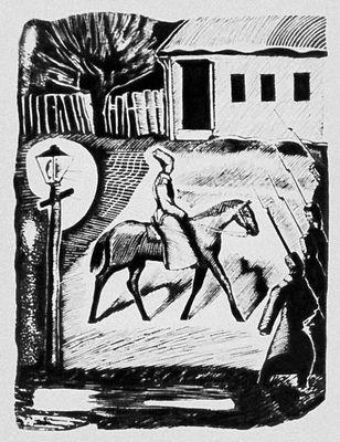 Фронтиспис В. А. Фаворского к книге С. Д. Спасского «Новгородская ночь». 1932. Книга.
