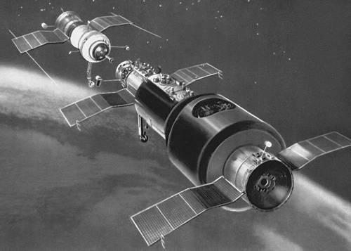 Перед стыковкой космического корабля и орбитальной станции «Салют» (рисунок). Космонавтика.