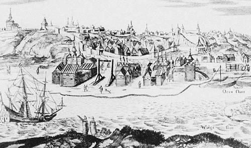 Вид на кремль Нижнего Новгорода со стороны Волги в 17 в. (рис. А. Олеария). Кремль.