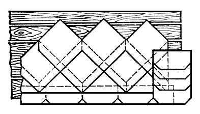 Рис. 3. Кровельное покрытие из плоских асбестоцементных плиток. Кровельные работы.