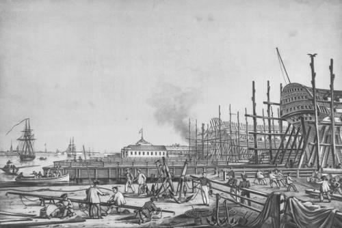 Ленинград. Адмиралтейская верфь. Литография К. Беггрова. 1823. Ленинград.