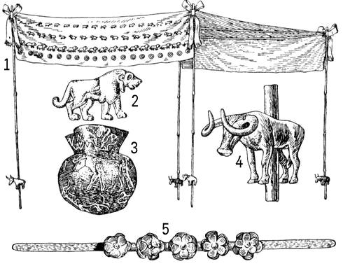 Предметы из Майкопского кургана (кон. 3-го тыс. до н. э.): 1 — погребальный балдахин (реконструкция); 2 — штампованная золотая бляшка в виде льва; 3 — серебряный сосуд с изображением пейзажа и зверей; 4 — литое изображение быка; 5 — золотая диадема. Майкопский курган.