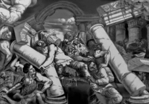 Джулио Романо. Роспись «Зала гигантов» в Палаццо дель Те в Мантуе. 1532—35. Фрагмент. Маньеризм.