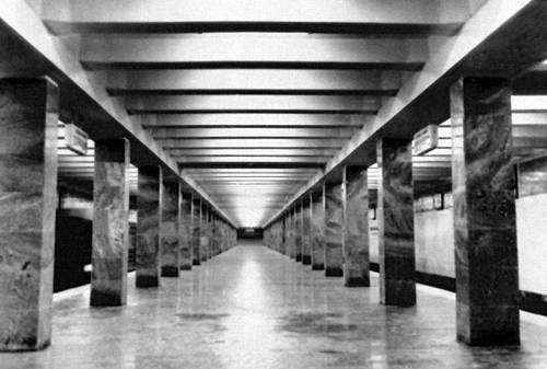 Станция метрополитена «Улица 1905 года» в Москве. 1972. Архитектор Р. И. Погребной, инженер Г. Метрополитен Суворов. Метрополитен.