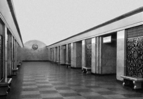 Станция метрополитена «Крещатик» в Киеве. 1960. Архитекторы А. В. Добровольский и др. Метрополитен.