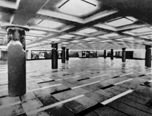 Станция метрополитена «Блаха Луиза» в Будапеште. 1970. Архитектор Л. Мариаш. Подземный распределительный зал. Метрополитен.