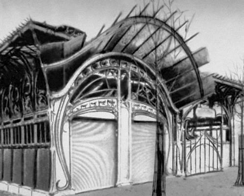 Один из входов в парижский метрополитен. Металл, стекло. Около 1900. Архитектор Г. Гимар. Метрополитен.