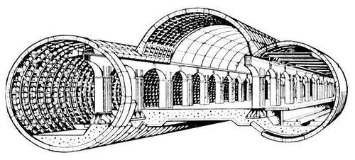 Рис. 2. Станция метрополитена колонного типа с увеличенным пролетом среднего зала. Метрополитен.