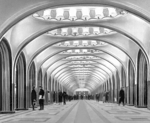 А. Н. Душкин. Станция метрополитена «Маяковская» в Москве. 1938—39. Метрополитен.