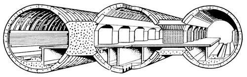 Рис. 1. Станция метрополитена пилонного типа с обделкой из железобетонных тюбингов. Метрополитен.
