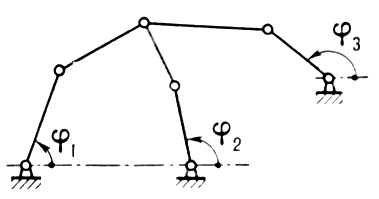 Рис. 2. Схема шарнирного механизма с двумя степенями свободы (с двумя начальными звеньями). Механизм.