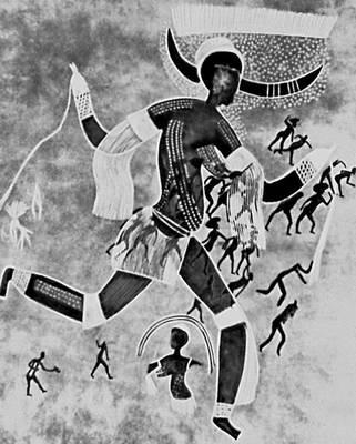 Мифология. Сахара. «Рогатая богиня», или «Белая дама». Фреска. Эпоха неолита. Ауанрхет. Мифология.