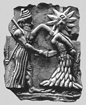 Мифология. Месопотамия. Битва бога солнца с чудовищем — «циклопом». Терракотовый рельеф из Хафаджи. Начало 2-го тыс. до н. э. Иракский музей. Багдад. Мифология.