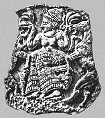 Мифология. Финикия. Богиня плодородия, кормящая козлов. Крышка ларца из Минет-Эль-Бейда (Сирия). Слоновая кость. 1-я половина 14 в. до н. э. Лувр. Париж. Мифология.