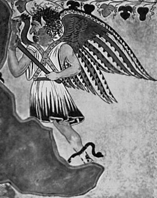 Мифология. Этруски. Этрусский демон загробного царства. Роспись склепа «Орко» близ Тарквинии. 3 в. до н. э. Мифология.