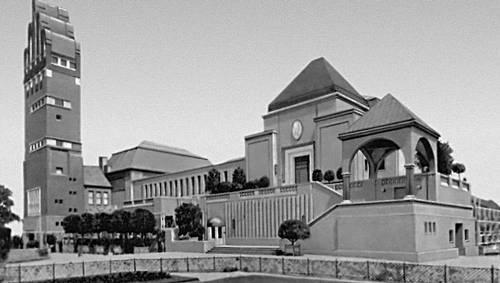 Й. М. Ольбрих. Выставочное здание и «Свадебная башня» в Дармштадте. 1907—08. «Модерн».