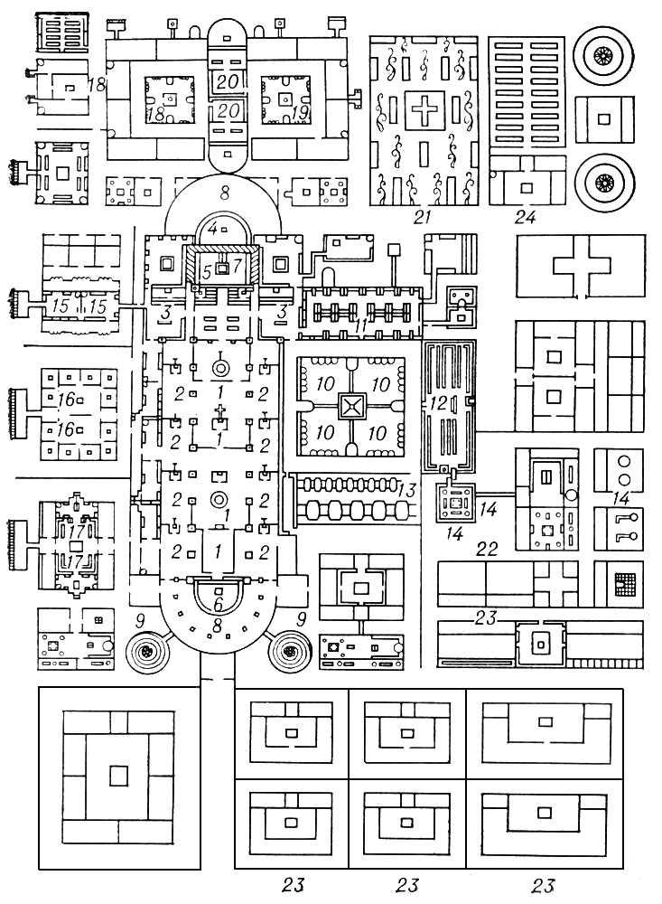 Монастырь Санкт-Галлен (Швейцария). План около 820: 1 — средний неф базилики; 2 — боковые нефы; 3 — трансепт; 4 — восточная апсида; 5 — хор; 6 — западная апсида; 7 — главный алтарь; 8 — дворики; 9 — башни; 10 — клуатр; 11 — спальня монахов; 12 — трапезная; 13 — погреб; 14 — кухня и хозяйственные службы; 15 — жилище аббата; 16 — школа; 17 — странноприимный дом; 18 — больница; 19 — дом послушников; 20 — капеллы; 21 — кладбище; 22—24 — сады и огороды. Монастыри.
