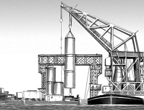 Рис. 4. Погружение опор — железобетонных оболочек — на строительстве моста. Мост (сооружение).