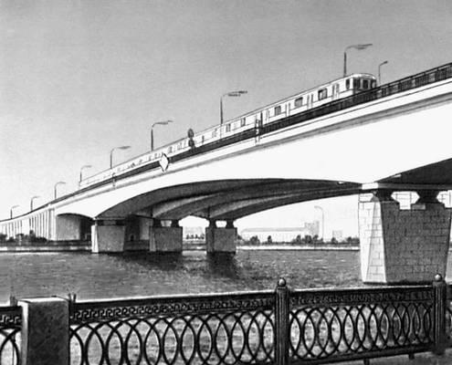 Нагатинский мост в Москве. 1969. Мост (сооружение).