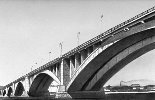 Мост через р. Енисей у Красноярска. 1960. Мост (сооружение).