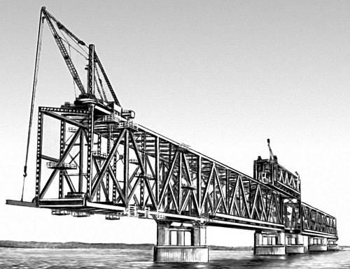 Рис. 6. Навесной монтаж мостовых сквозных ферм. Мост (сооружение).