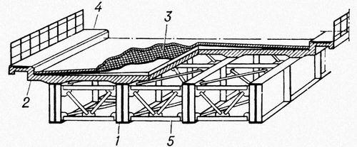 Рис. 3. Пролётное строение со сплошными двутавровыми балками: 1 — главные балки; 2 — железобетонная плита проезжей части; 3 — покрытие проезда; 4 — тротуары; 5 — связи. Мост (сооружение).