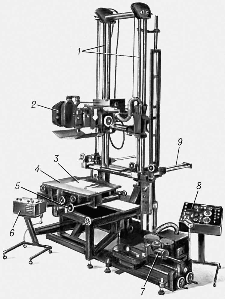 Автоматизированный мультипликационный станок, модель 5442 фирмы «Оксберри» (США): 1 — вертикальная станина; 2 — киносъёмочный аппарат; 3 — прижимное стекло; 4 — вращающийся съёмочный стол; 5 — каретка съёмочного стола; 6 — пульт ручного управления; 7 — приставка для рирпроекции фона; 8 — пульт программного управления; 9 — выдвижные опоры для дополнительного яруса. Мультипликационный станок.