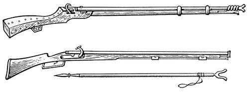 Мушкеты: вверху — русский фитильный мушкет; внизу — русский фитильный мушкет с сошкой. Мушкет.